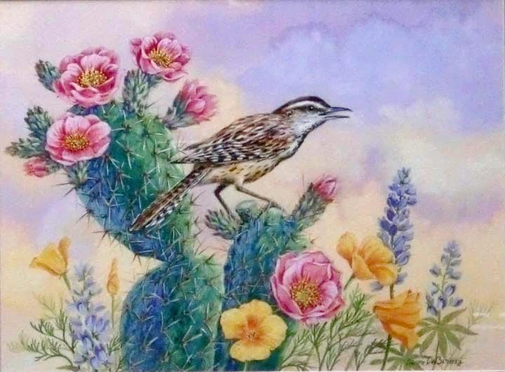"""Cactus Wren, framed"" original fine art by Jean Pierre DeBernay"