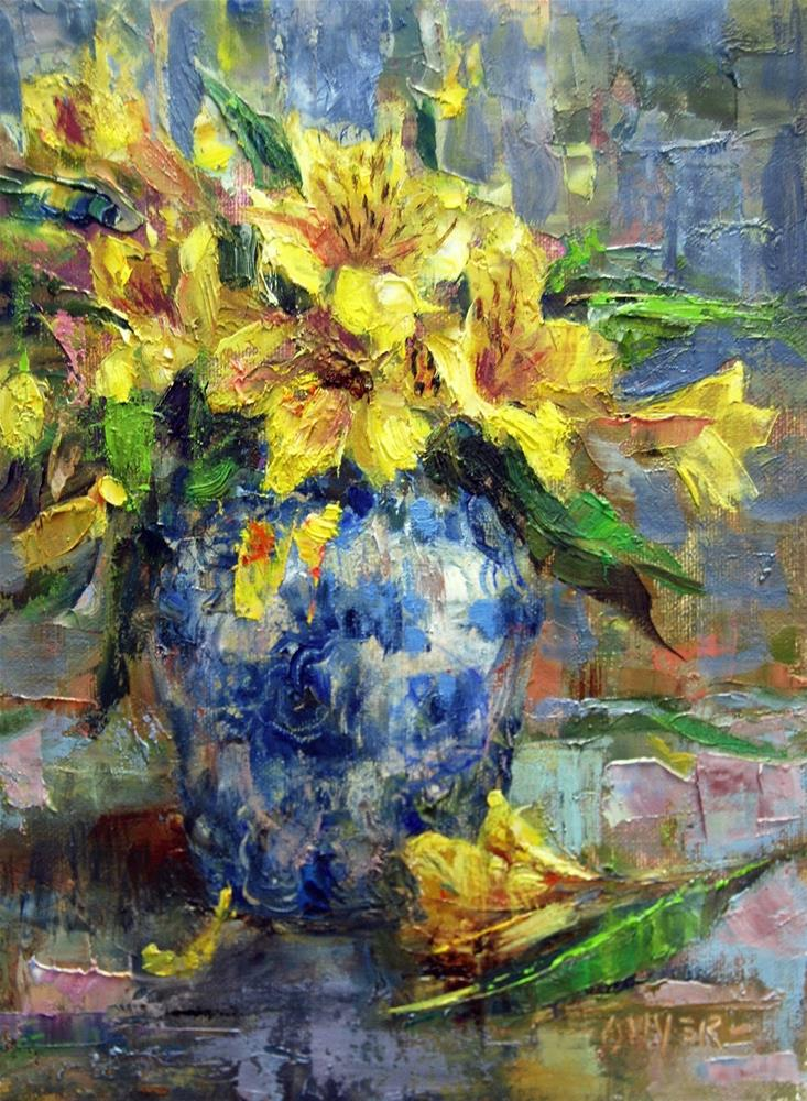 """Blue Rose Vase and Flowers - NEW!"" original fine art by Julie Ford Oliver"