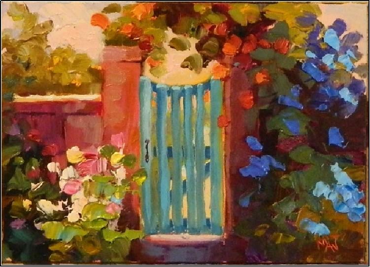 """Gate to Sunshine, 5x7, oil on board, flowers, garden, impressionism, gate, trellis"" original fine art by Maryanne Jacobsen"