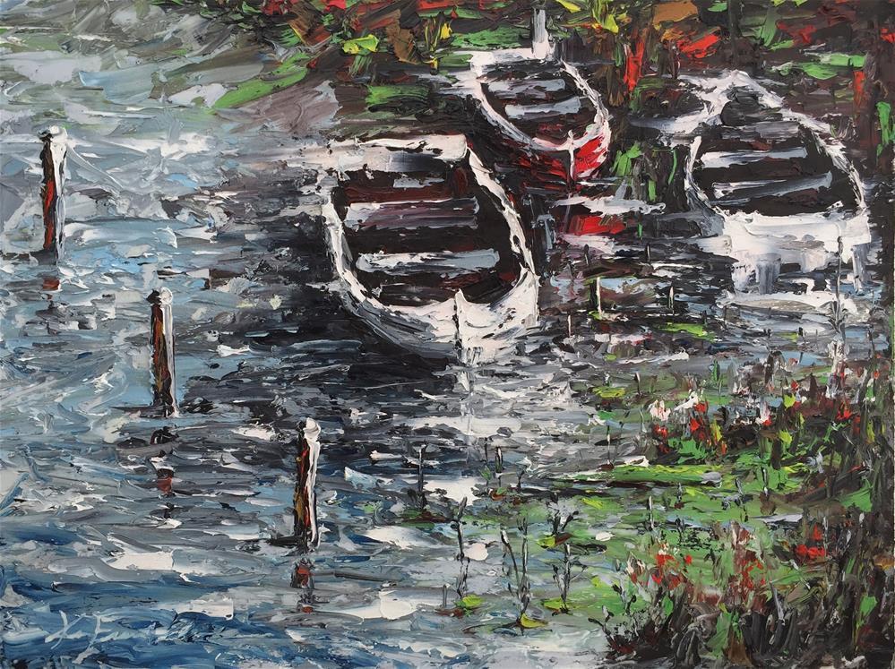 """Three Boats"" original fine art by Ken Fraser"