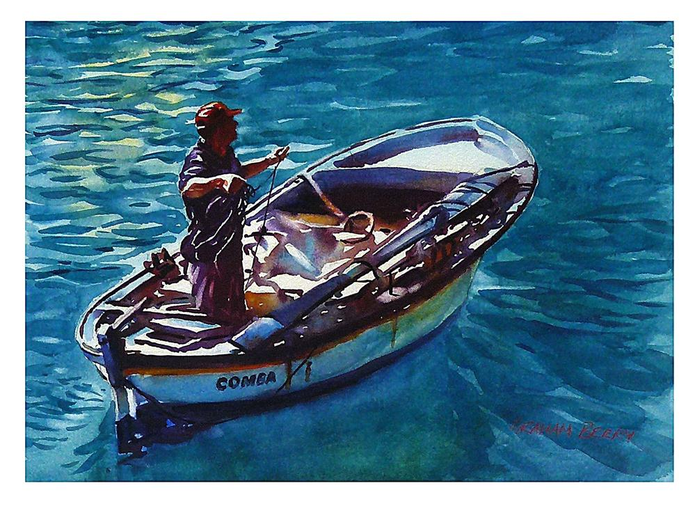 """""""Man and boat."""" original fine art by Graham Berry"""