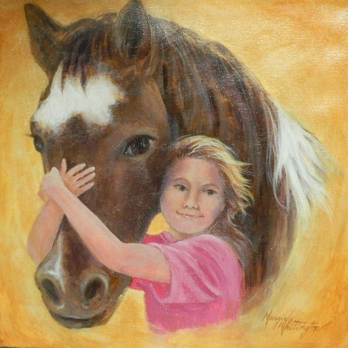 """Girl and Her Pony"" original fine art by Margie Whittington"