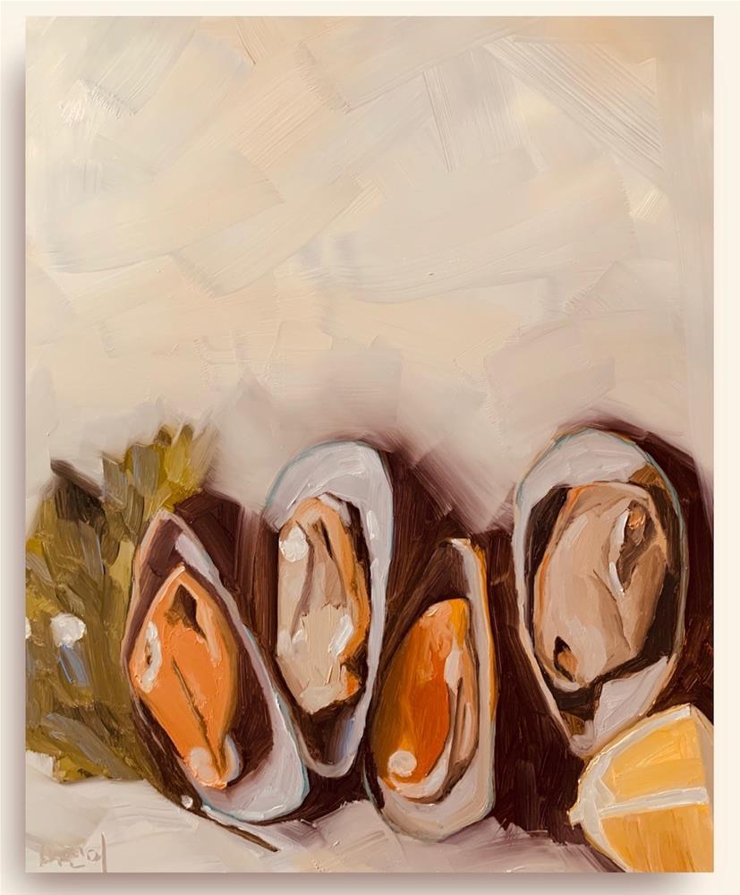 """""""793 Pulling Mussels"""" original fine art by Jenny Doh"""