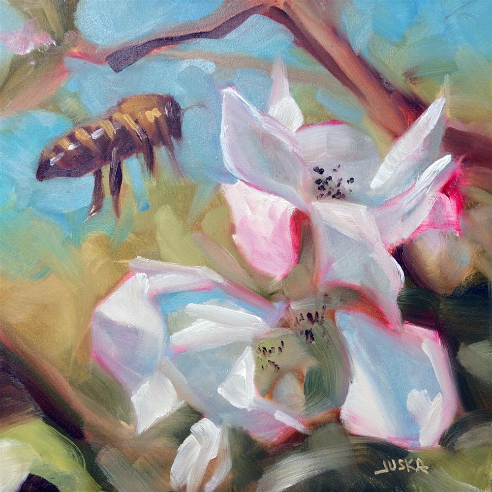 """""""Bee and Blossoms"""" original fine art by Elaine Juska Joseph"""