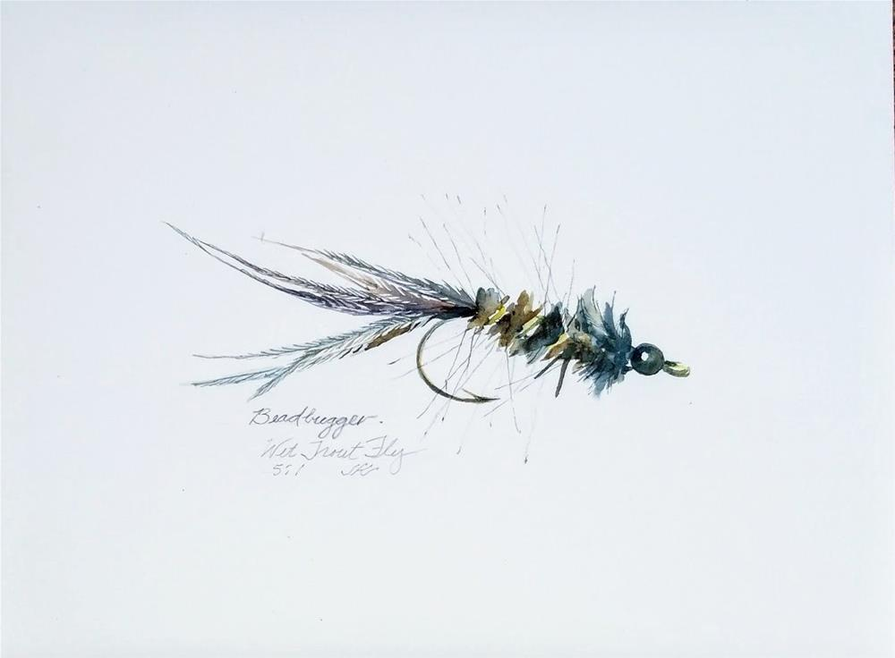 """Beadhead Bugger - Wet Trout Fly"" original fine art by Jean Krueger"