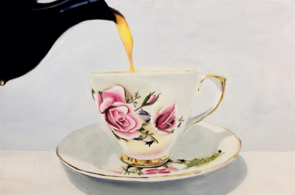 """""""Pouring Tea"""" original fine art by James Coates"""