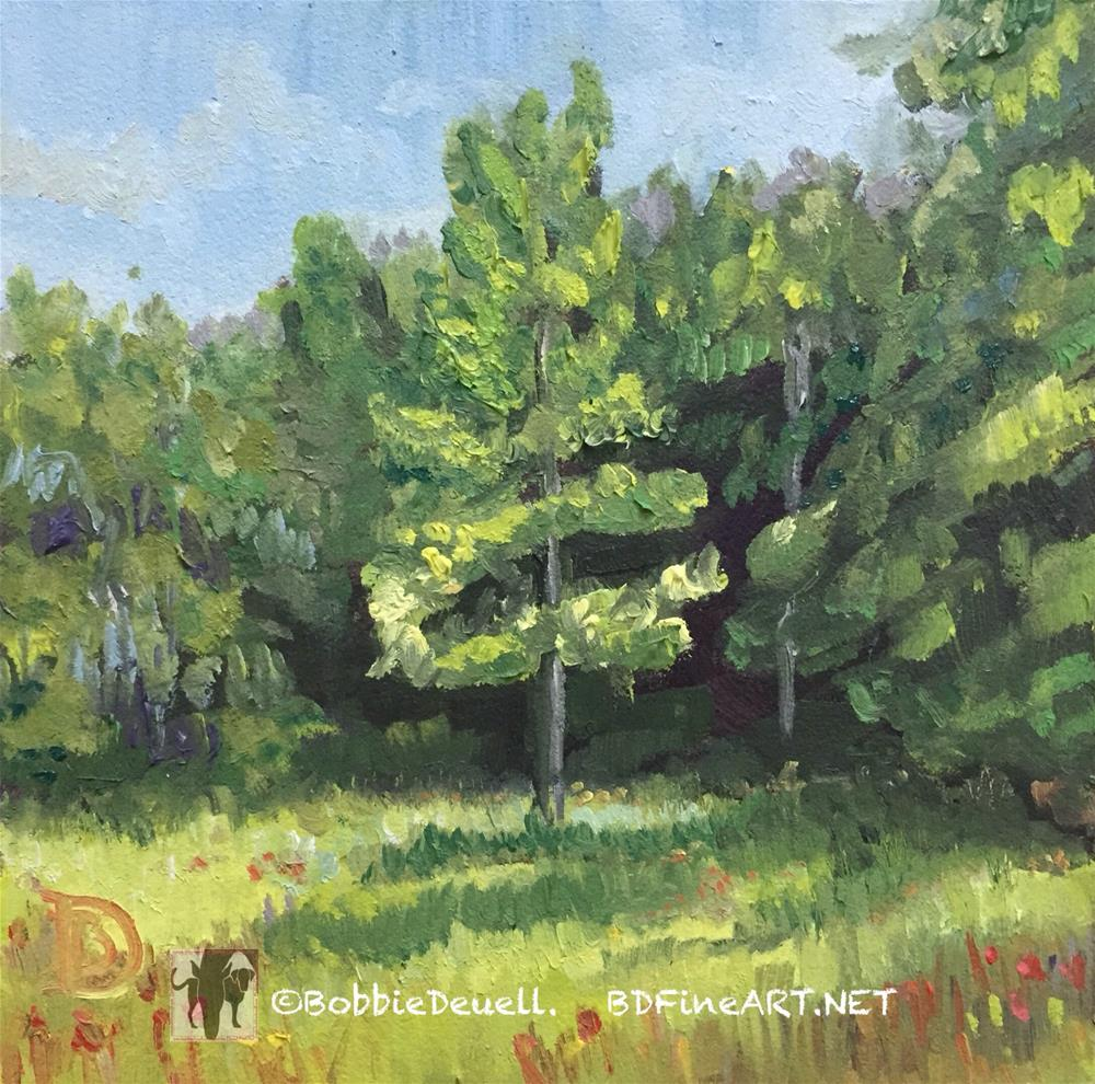 """""""#9 intrigued by the Tree in the Light"""" original fine art by Bobbie Deuell"""