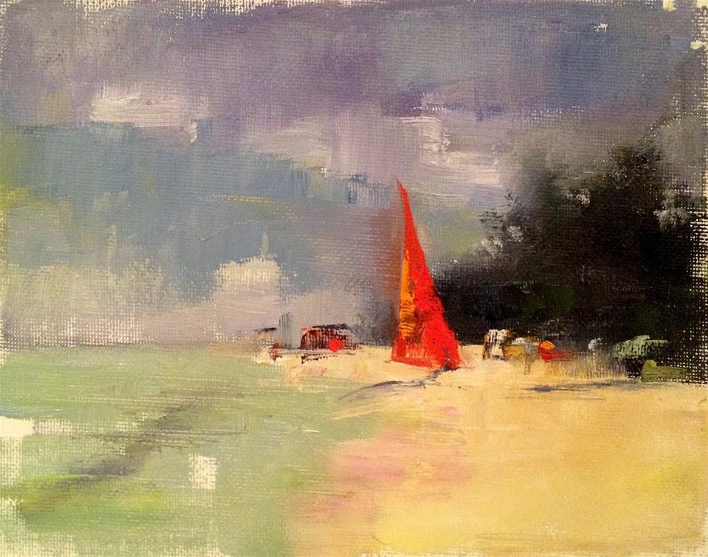 """""""La Playa (Oil Sketch), 8x6 (sold)"""" original fine art by Ann Feldman"""