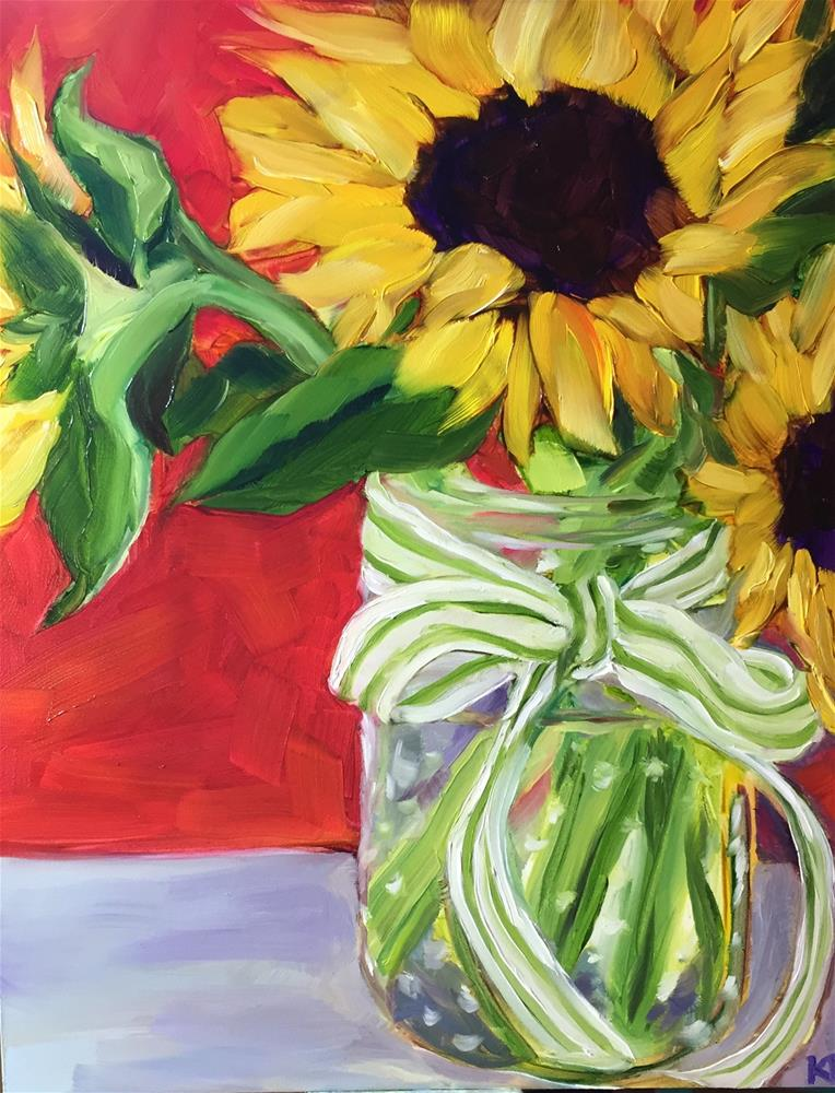 """""""Sunflowers with a green striped bow"""" original fine art by Kim Boyer"""