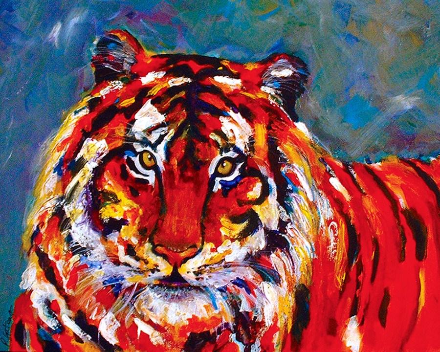 """""""Confetti Cat"""" original fine art by Pamela Gatens"""