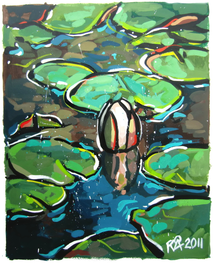 """""""Partially Abstract Water Lilies 22"""" original fine art by Roger Akesson"""