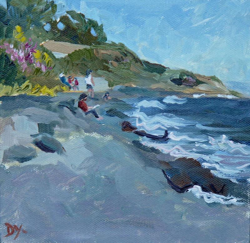 """""""Victoria Beach Scene, oil 6x6"""" original fine art by Darlene Young"""