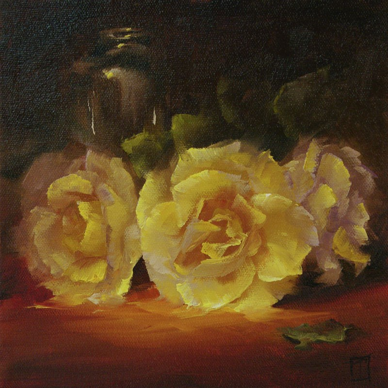 """Yellow Rose Study 3"" original fine art by Lori Twiggs"