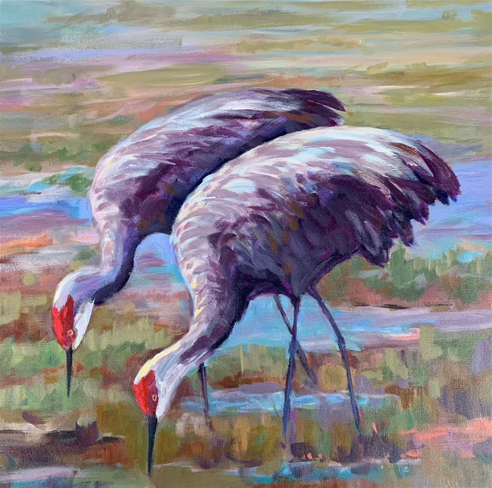 """Two Cranes"" original fine art by Melissa Gannon"