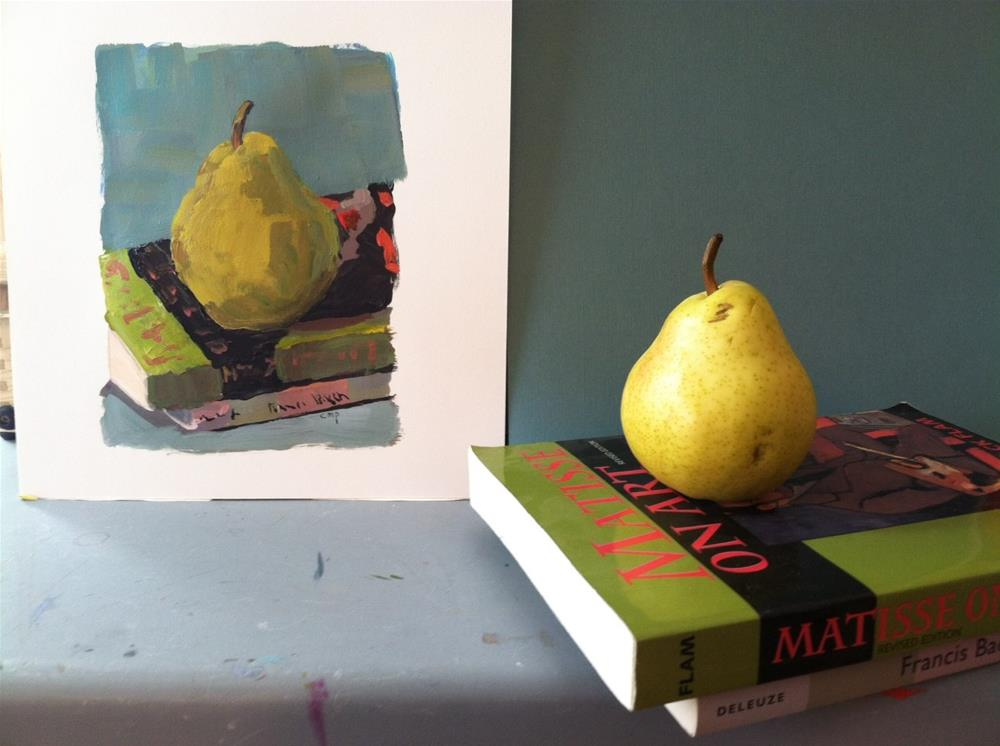 """""""Pear with Books"""" original fine art by Christine Parker"""