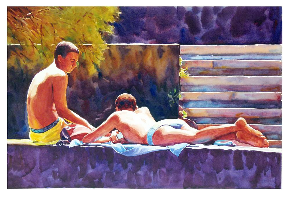 """""""Lads on the wall 2."""" original fine art by Graham Berry"""