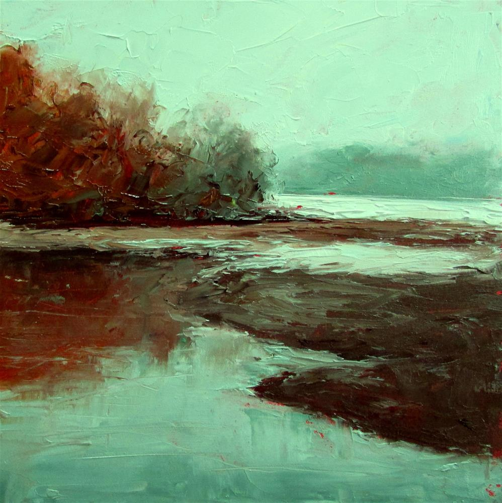 """8 x 8 inch oil Tidal Beach"" original fine art by Linda Yurgensen"