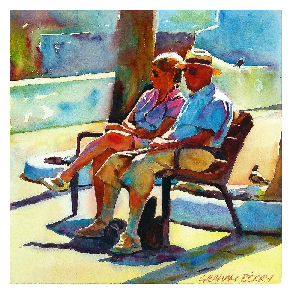 """""""Couple on bench"""" original fine art by Graham Berry"""