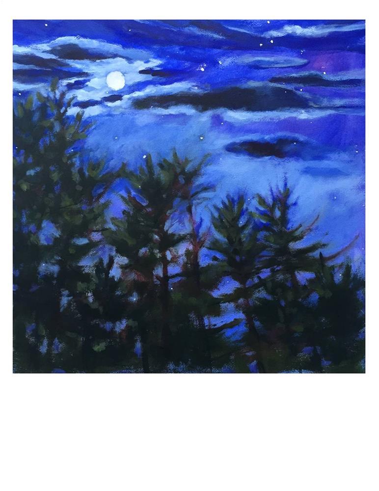 """Moonlit Pines in Maine"" original fine art by Suzanne Woodward"