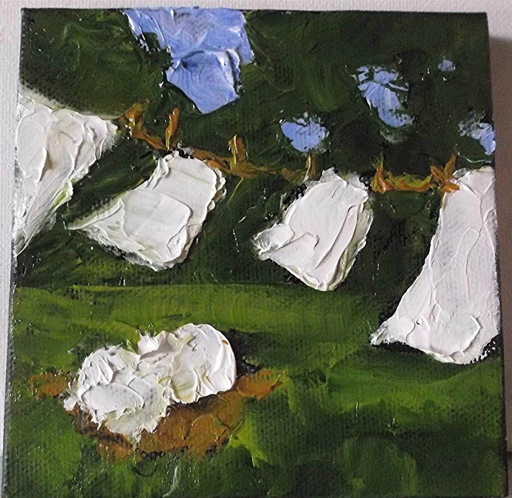 """Miniature Impressionist Painting 4x4 Backyard Clothesline Art Laundry Washday LANDSCAPE Lynne French"" original fine art by lynne french"