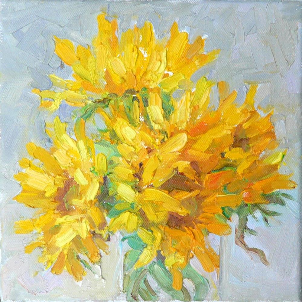 """Sunflowers in Vase,still life,oil on canvas,8x8,price$275"" original fine art by Joy Olney"