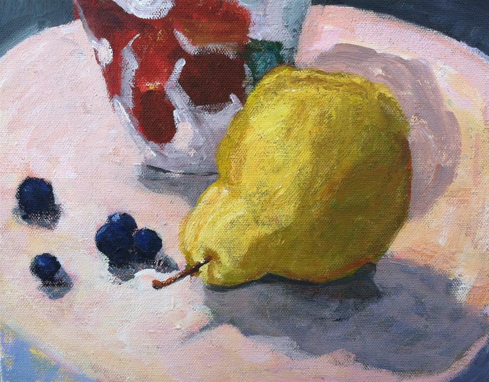 """""""Pear with Blueberries"""" original fine art by Christine Parker"""