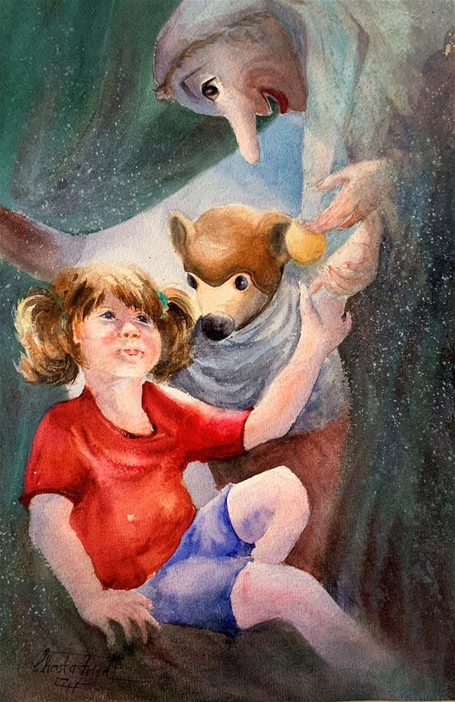 """Childhood Heroes - puppets"" original fine art by Christa Friedl"