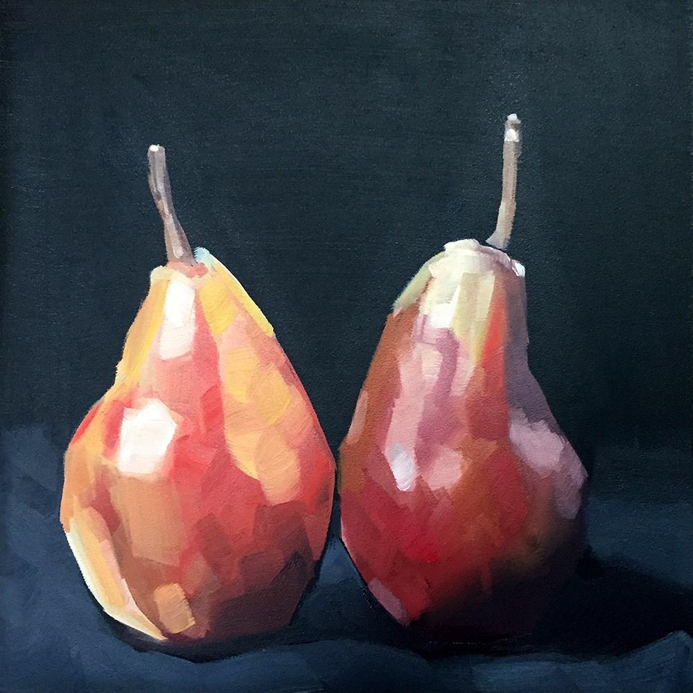 """""""Pear Pair"""" original fine art by Elizabeth Dawn Johnston"""