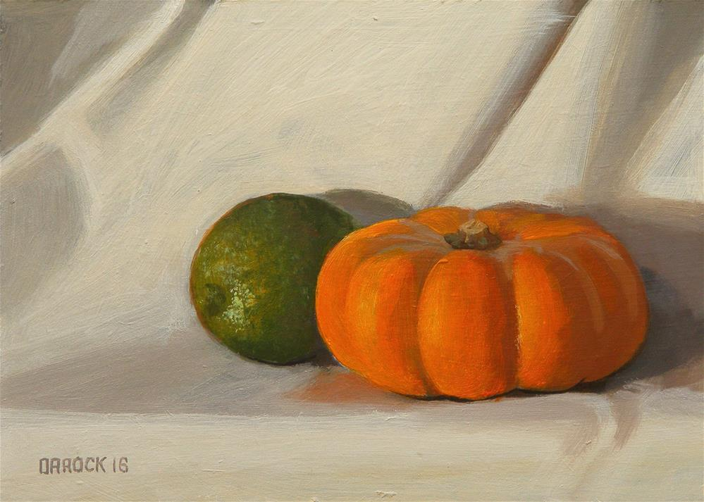 """Pumpkin and lime"" original fine art by Peter Orrock"