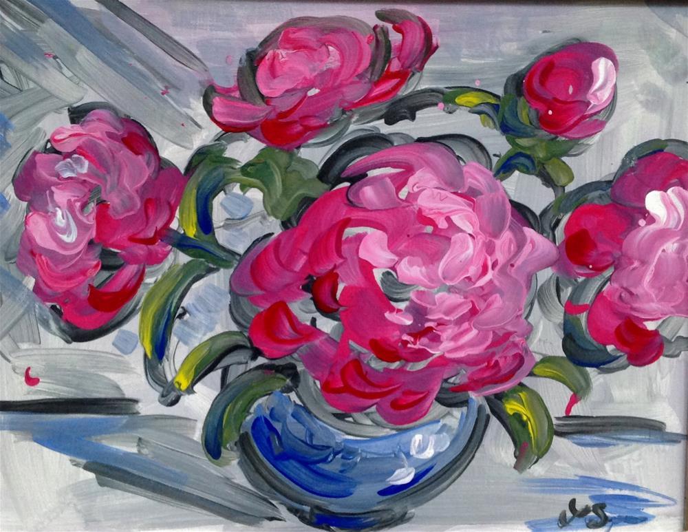 """Pink Peonies"" original fine art by Leslie Spencer"