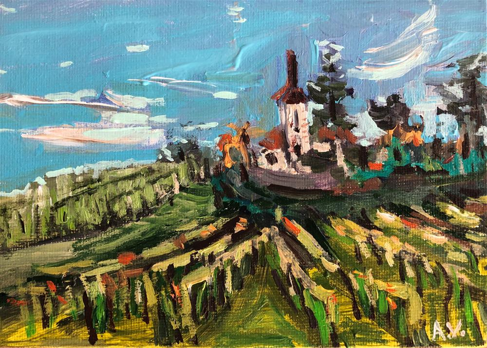 """Alsace view study on canvas panel"" original fine art by Alina Vidulescu"