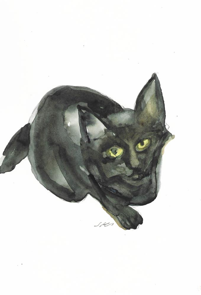 """Daily Cat 40"" original fine art by Jean Krueger"