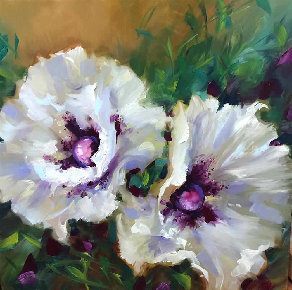 """White Wing Poppies"" original fine art by Nancy Medina"