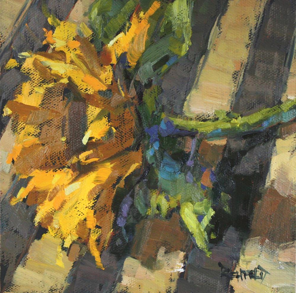 """Sunflower and Stripes"" original fine art by Cathleen Rehfeld"