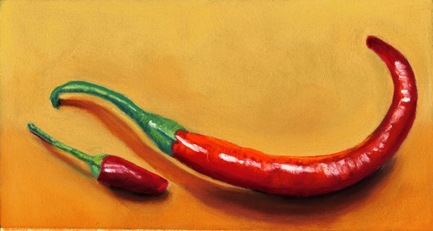 """2 hot peppers"" original fine art by Ria Hills"