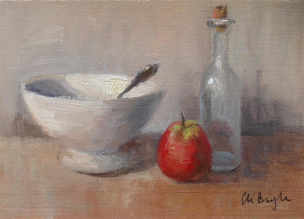 """""""Bowl bottle and fruit"""" original fine art by Christine Bayle"""