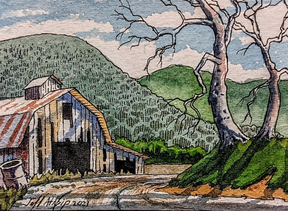 """Go past the barn on your left"" original fine art by Jeff Atnip"