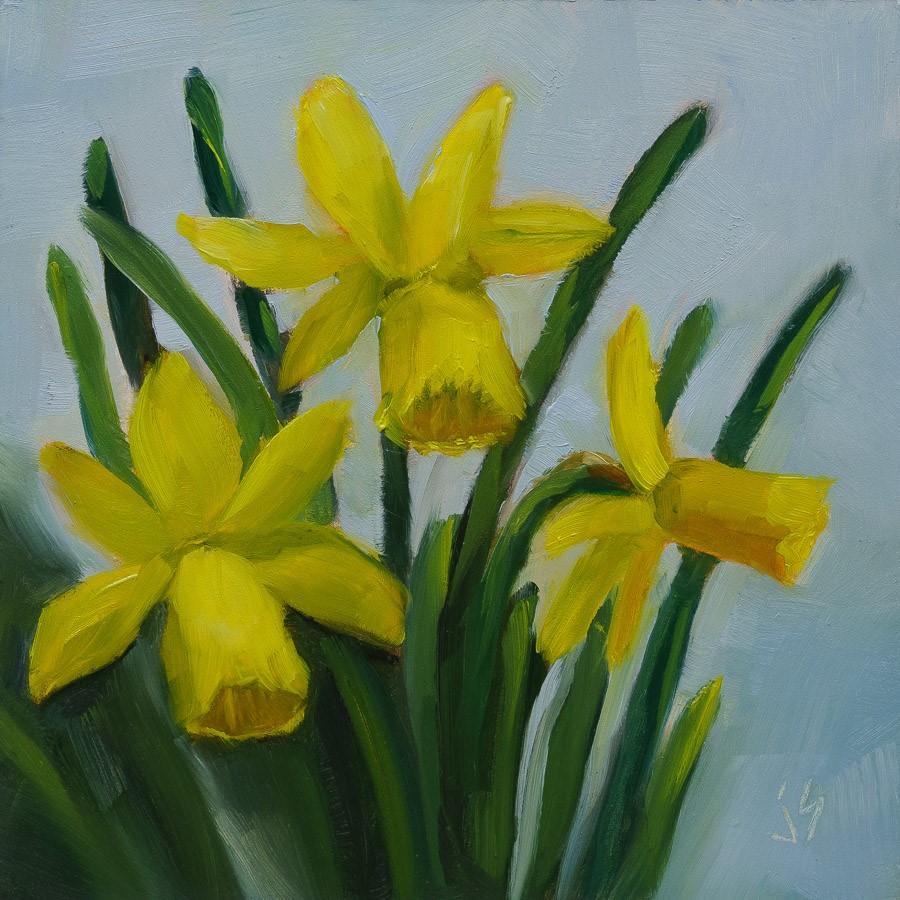 """Sunlit Daffodils (Framed)"" original fine art by Johnna Schelling"