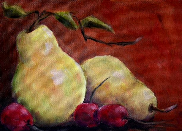 """Pair of Pears"" original fine art by Maggie Flatley"
