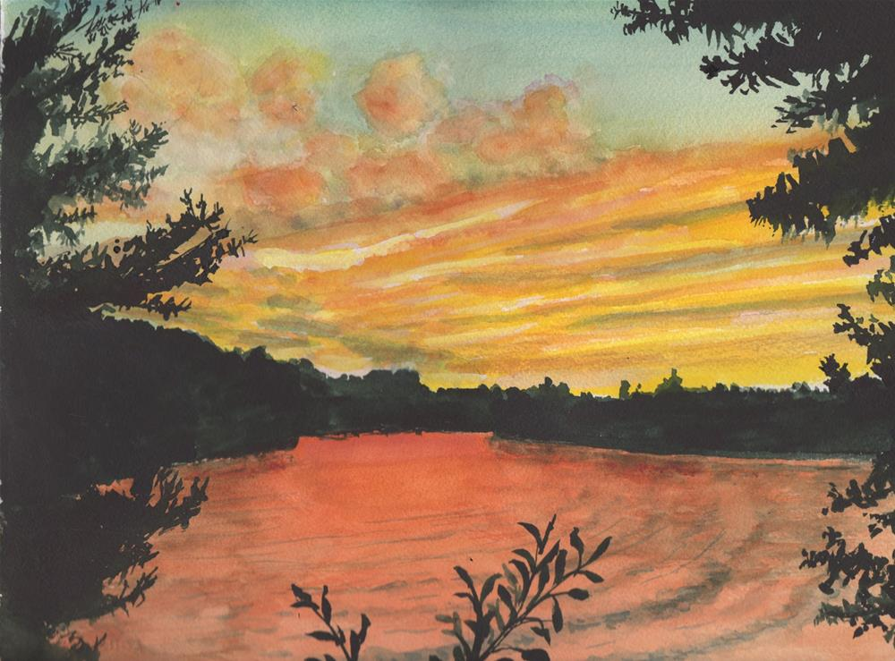 """SUNDOWN OVER LAKE"" original fine art by Bunny Griffeth"