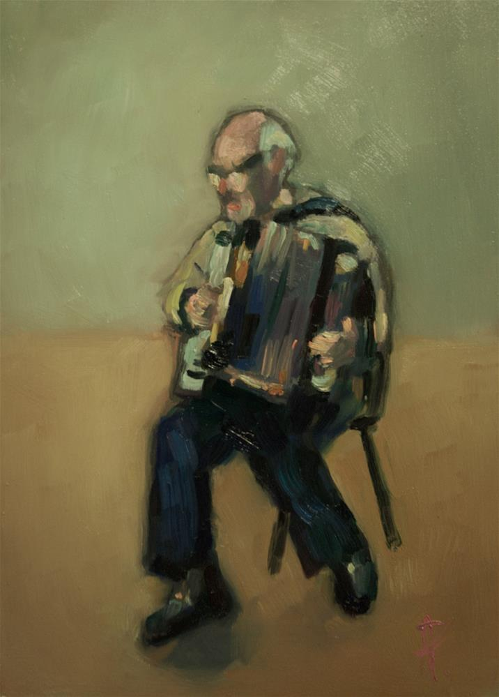 """L'Accordioniste"" original fine art by Andre Pallat"