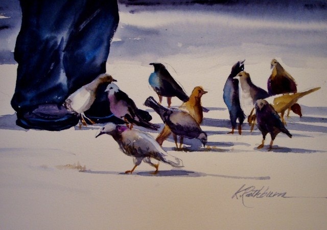 """Chicago Birds"" original fine art by Kathy Los-Rathburn"