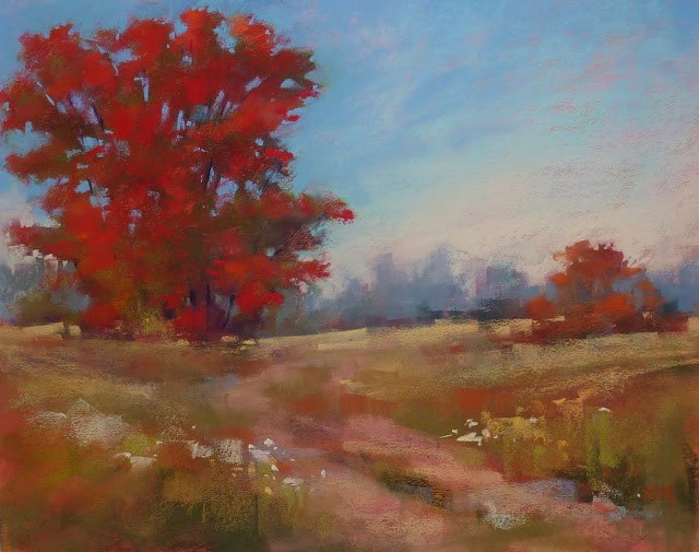 """Painting an Autumn Tree from A Summer Reference Photo"" original fine art by Karen Margulis"