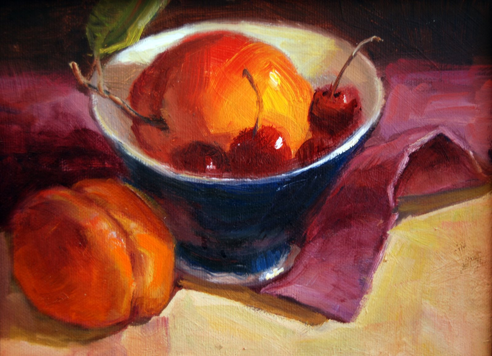 """""""Nectarines and Cherries"""" original fine art by Julie Ford Oliver"""