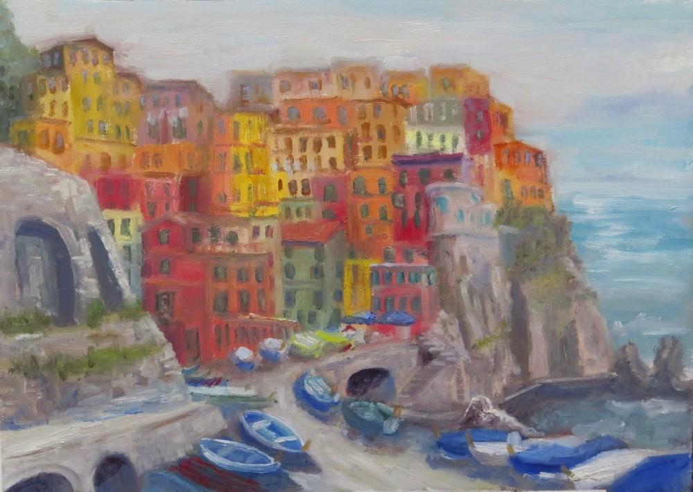 """Manarola"" original fine art by Richard Kiehn"