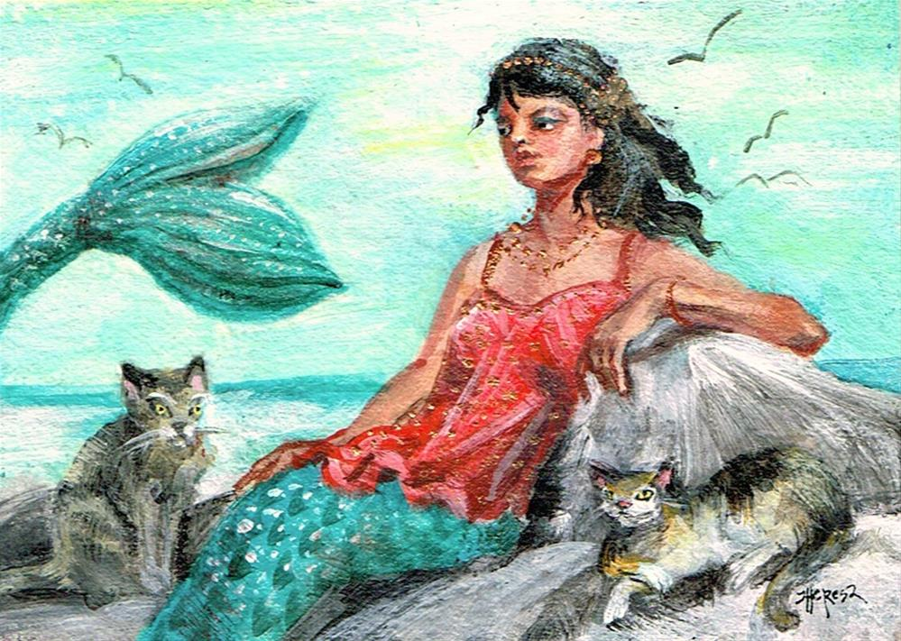 """Mermaid with Two Cats"" original fine art by Theresa Taylor Bayer"