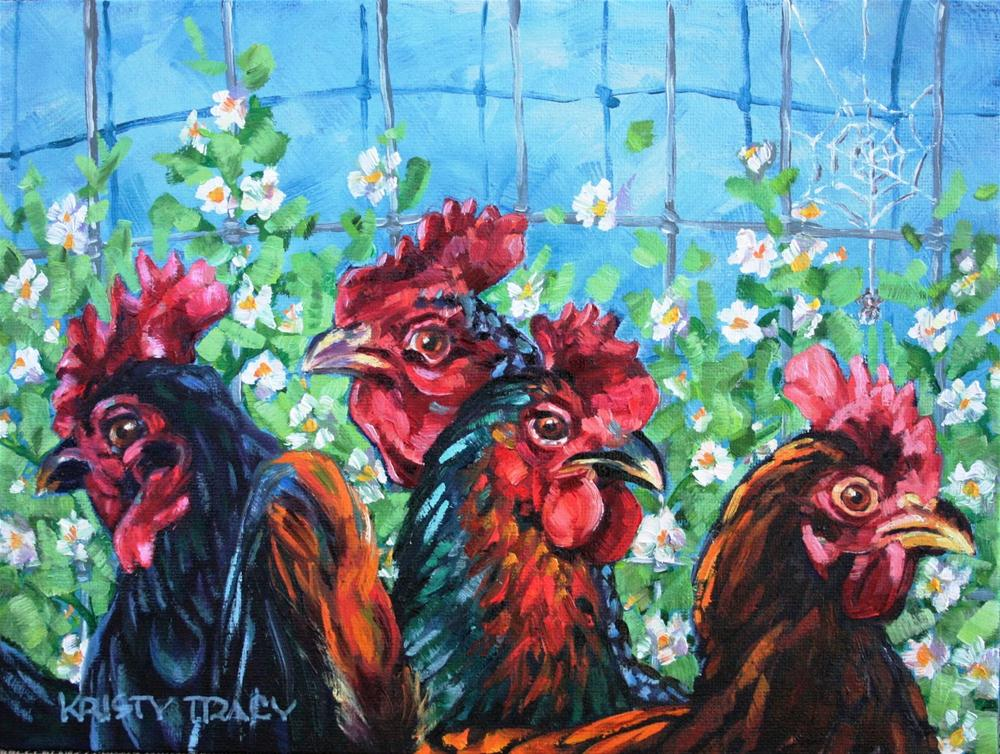 """PECKING ORDER"" original fine art by Kristy Tracy"