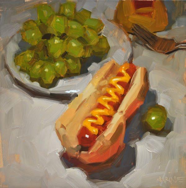 """Classic Dog - 8x8in"" original fine art by Carol Marine"