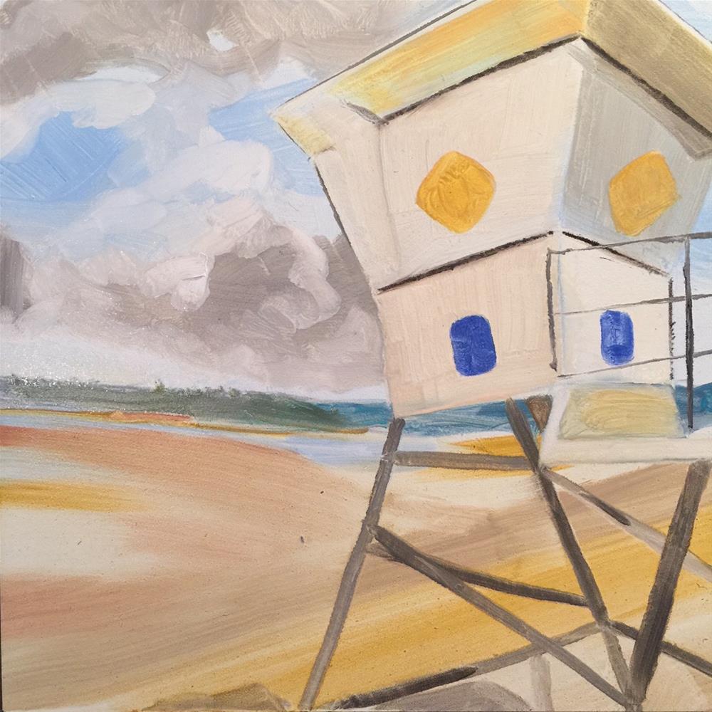 """""""148 No Lifeguard on Duty"""" original fine art by Jenny Doh"""