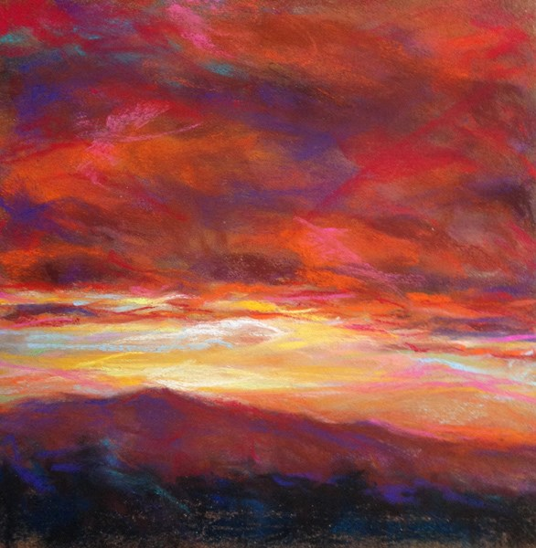 """RED HOT -6 x 6 sunset pastel by Susan Roden"" original fine art by Susan Roden"